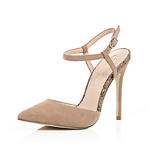 Nude snake print strappy court shoe