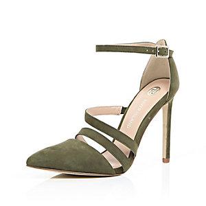 Khaki suede strappy court heels