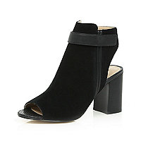 Black suede peep toe heeled ankle boots