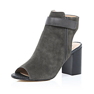 Grey suede peep toe heeled ankle boots