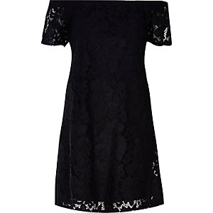 Black lace bardot swing dress