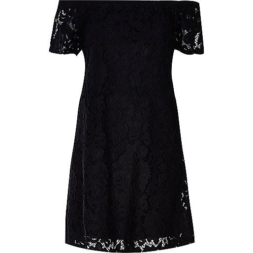 Black Lace Bardot Swing Dress