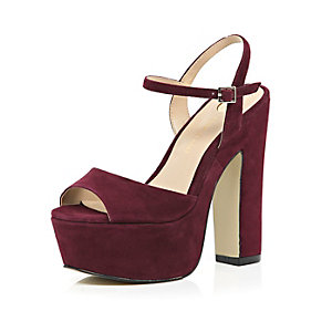 Dark red suede platform heels
