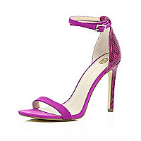 Bright pink barely there sandal heels