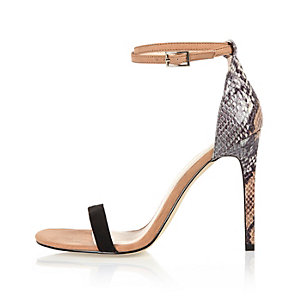 Beige snake print barely there sandal heels