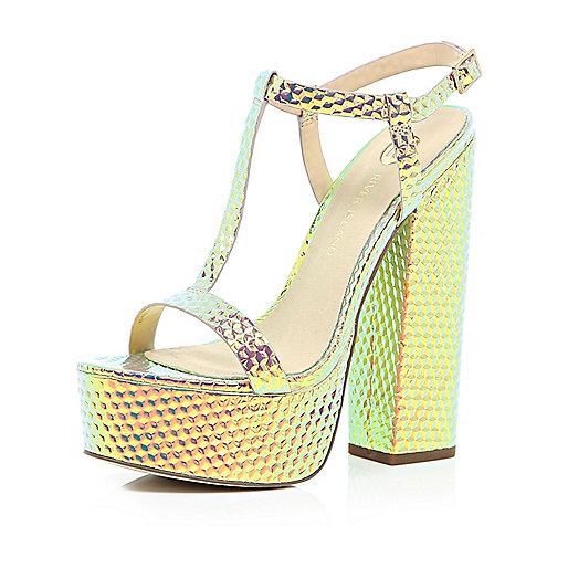 alt=<metallic disco shoes>