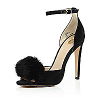 Black suede pom pom barely there heels