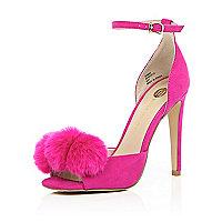Bright pink pom pom barely there heels