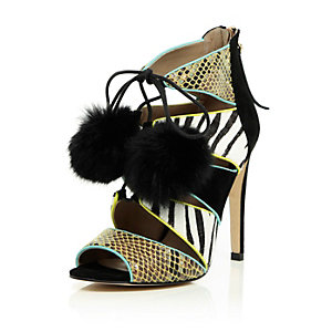Black leather caged pom pom heeled sandals