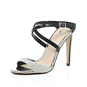 Grey suede cross strap heels