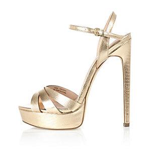 Gold metallic strap platform heels