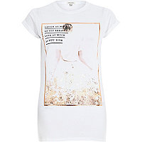 White laugh photo print fitted t-shirt