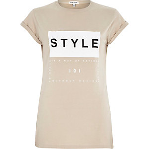 Beige style print fitted t-shirt