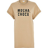 Brown mocha choca print oversized t-shirt
