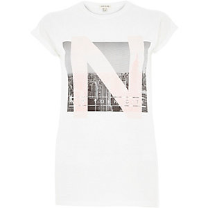 White New York City fitted t-shirt