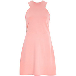 Pink sleeveless A-line dress