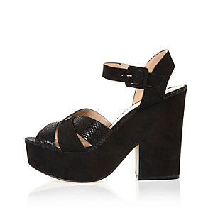 Black suede cross strap platform sandals