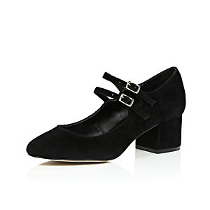 Black velvet block heel mary jane shoes