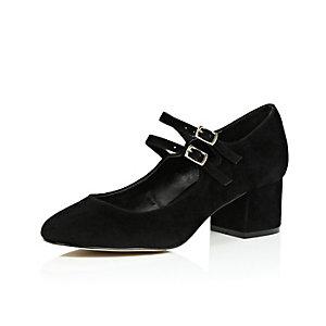 Black velvet block heel mary jane shoes