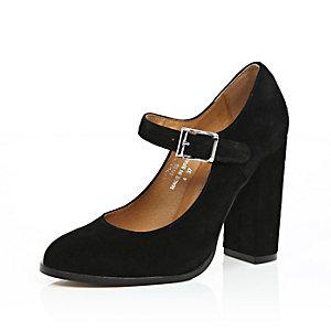 Black leather mary jane heels