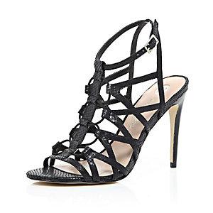 Black leather caged heels