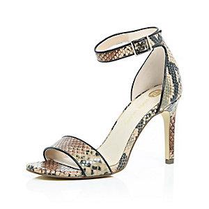 Brown snake print mid heel sandals
