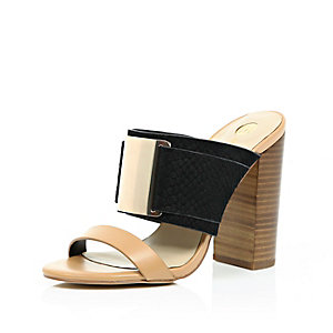 Black leather block heel mules