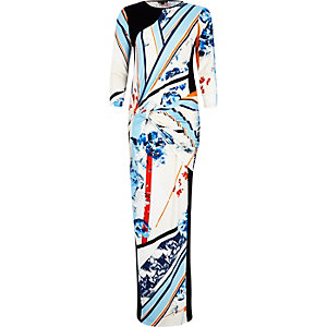 Blue print twist front maxi dress