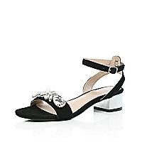 Black suede gem block heel sandals