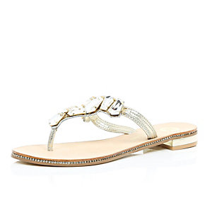 Gold leather embellished sandals