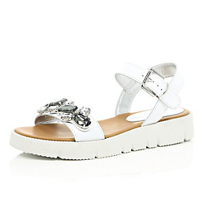 White leather embellished sandals