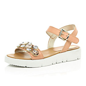 Nude pink leather embellished sandals