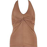 Brown twist front halter neck top