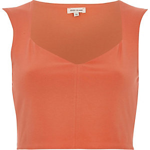 Coral jersey sweetheart neck crop top