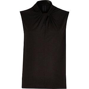 Black twist neck sleeveless top