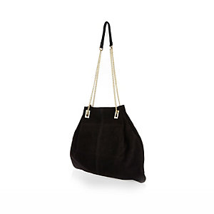 Black suede slouchy chain handbag