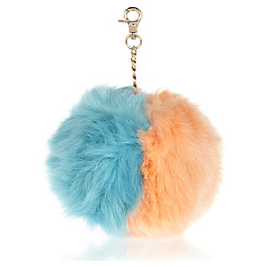 Green and orange split pom pom keyring