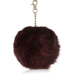 Dark red pom pom keyring