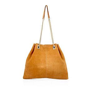 Tan suede slouchy chain handbag