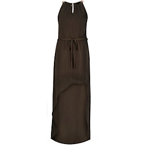 Khaki satin waisted maxi dress