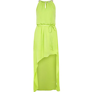 Lime green satin waisted maxi dress