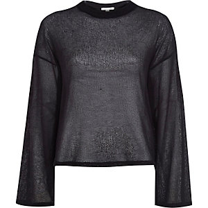 Black fine knit wide sleeve top