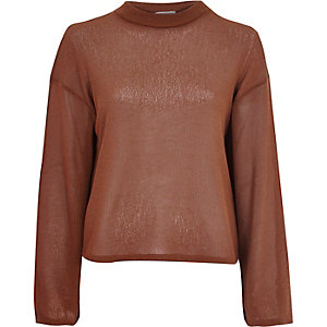 Brown fine knit wide sleeve top