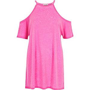 Bright pink cold shoulder oversized t-shirt