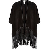 Black faux suede tassel cape