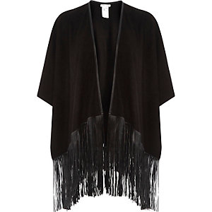 Black faux suede leather-look tassel cape