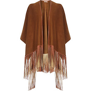 Brown faux suede leather-look tassel cape