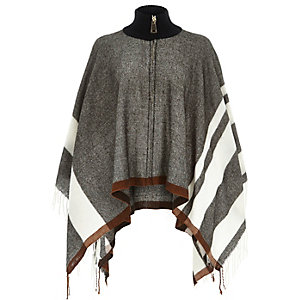 Grey zipped blanket cape