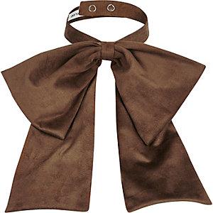 Beige suedette neck bow