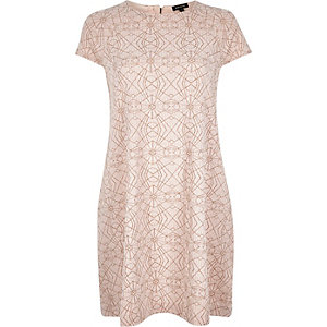 Pink metallic jersey swing dress